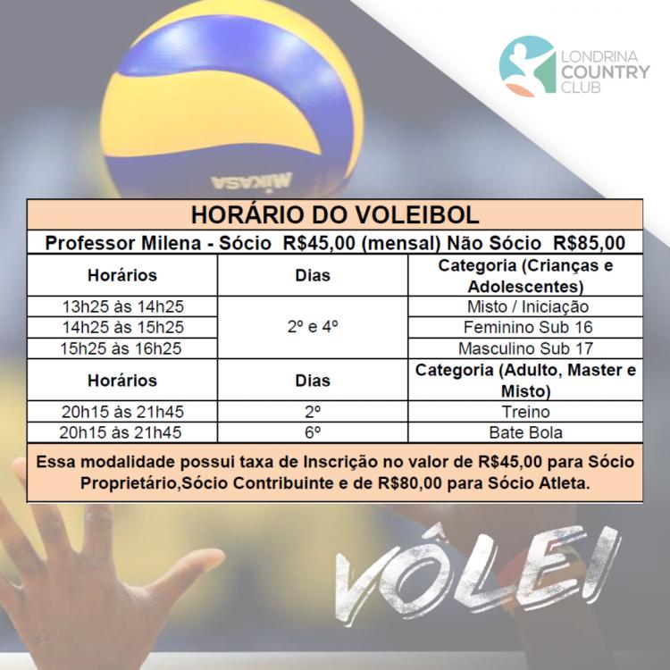 HORÁRIO VOLEIBOL